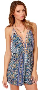 Ark & Co. Southwest Festival Backless Blue Print Aztec Strappy Dress