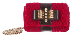 Christian Louboutin Red Quilted Velvet Shoulder Bag