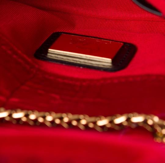 Christian Louboutin Quilted Velvet Sweet Charity Sweet Charity Chain Clutch Studded Spike Embellished Embroidered Silver Hardware Gold Bow Shoulder Bag