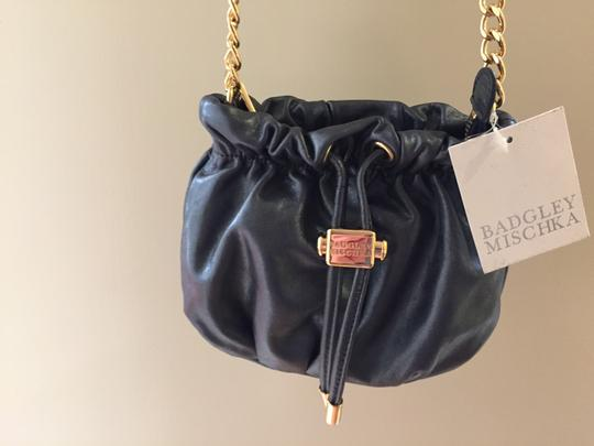 Badgley Mischka New Softest Leather 3 Inside Pockets Adjustable Strap 2 Gold Logo Charms charcoal gray with shine Clutch