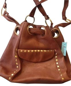 Marciano Studded Leather Gold Hardware Hobo Bag
