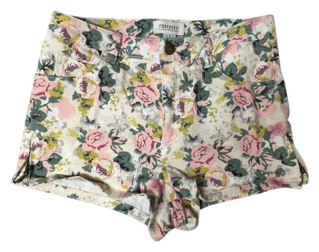 Item - Beige / Olive / Pink / Mustard High Waisted Floral Denim Shorts Size 2 (XS, 26)