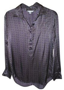 CAbi Silk Tunic Fall Printed Top Purple & Green
