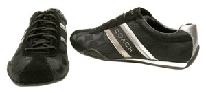 Coach Signature Lace Up Patent Leather Black And Silver Athletic
