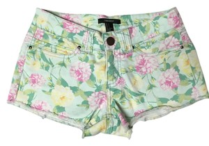 Forever 21 Small Floral Mini/Short Shorts White / Green / Pink