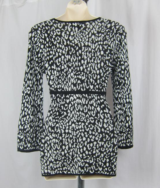 Michael Kors Animal Print Lightweight Cotton Faux Wrap V-neck Sweater