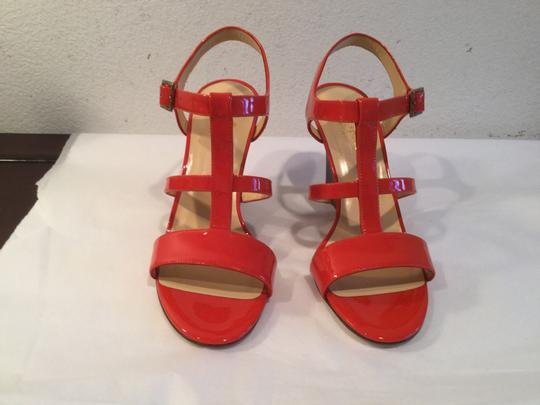 Kate Spade T Strap Italian Deep Pink Patent All Leather Open Toe Wedges