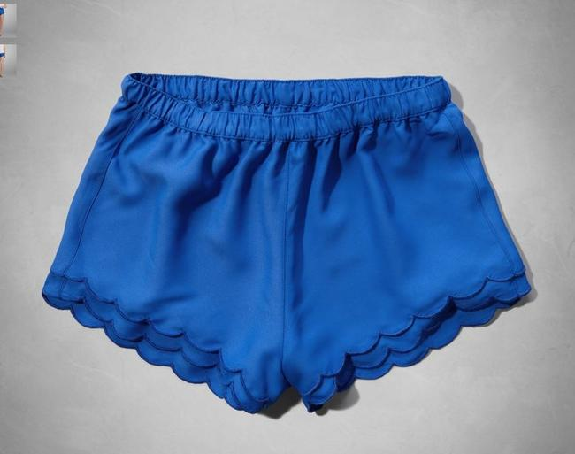 Abercrombie & Fitch A&f Anf Chiffon Scalloped Beach Bright Dress Shorts Blue