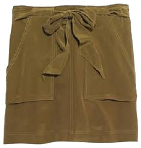 Madewell Silk Summer Khaki Military Mini Skirt Olive Green
