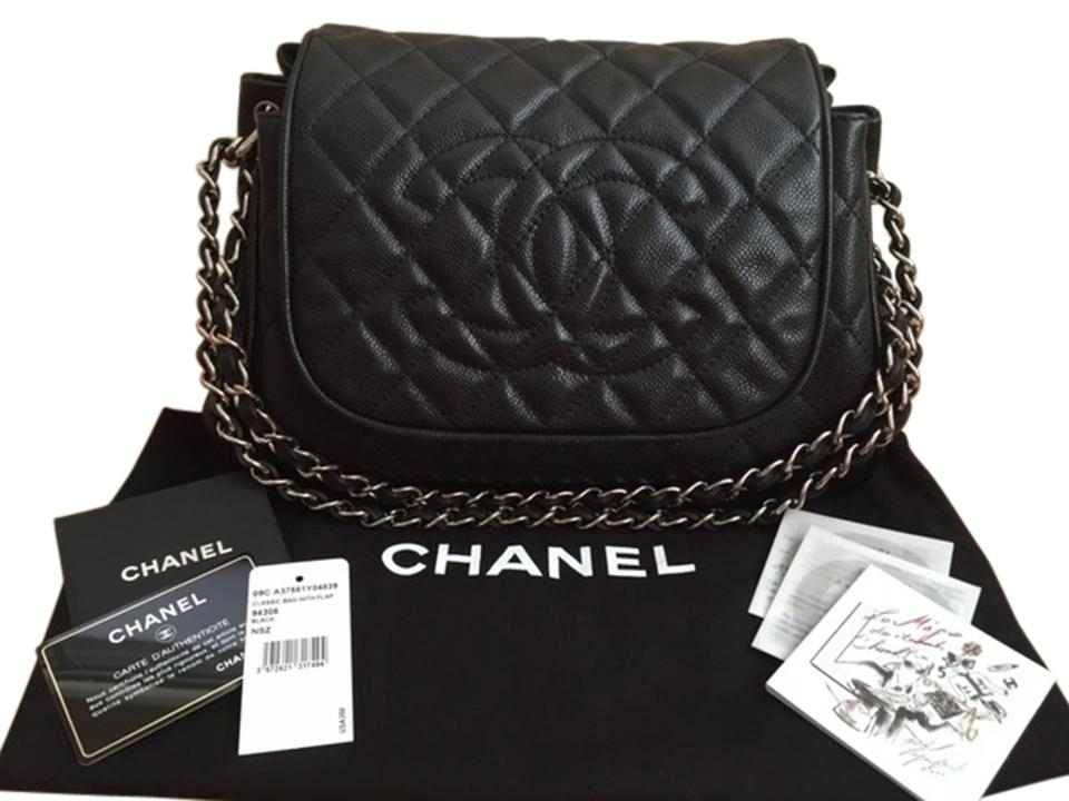 a43fc2a8c2f7 Chanel Accordion Flap Handbag Black Quilted Caviar Leather Shoulder ...