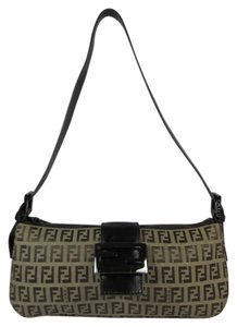 Fendi Zucca Monogram Ff Logo Leather Shoulder Bag