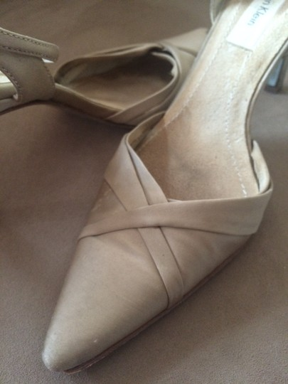 Calvin Klein Satin Pointed Toe Crisscross Strap Ankle Strap Gold Taupe Sandals