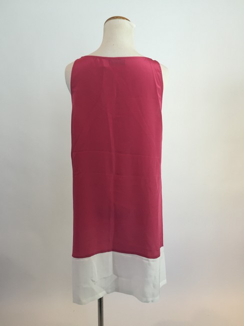 Love Token short dress Dark Pink/Ivory Shift Silk Colorblock on Tradesy