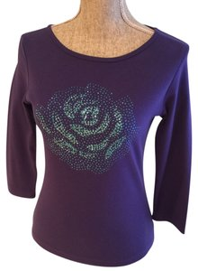New York & Company Size Small Tees Embellished Tees & Tees T Shirt Purple