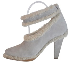Chloé Runway Suede Shearling Ankle Strap Designer Size 40 Chloe Grey Pumps