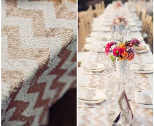 Champagne Gold and White/Cream Sequin Chevron Table Runners Tableware
