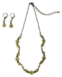 Flower Necklace and Earring Set with Crystals and Beads from Neiman Marcus