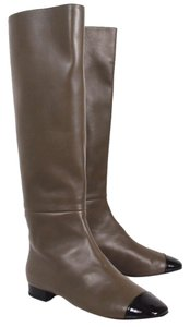 Chanel Taupe Leather Patent Leather Knee High Brown Boots