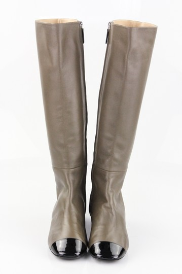 Chanel Brown Leather Patent Leather Knee High Taupe and Black Boots