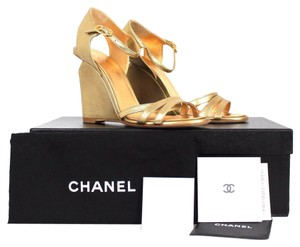 Chanel Calfskin Leather Pearl Gold Sandals