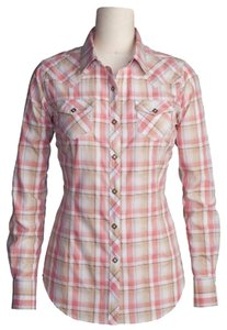 Ariat Diana Diana Snap Front Button Down Shirt Coral Plaid
