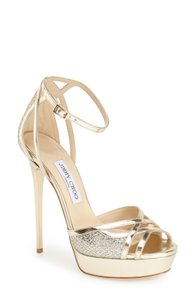 Jimmy Choo Light Gold Valdia Strappy Platform Sandal Formal Size US 9 Regular (M, B)
