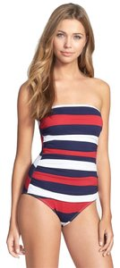 Tommy Bahama Tommy Bahama Mare Rugby Stripe Shirred Bandeau Cup One Piece Crimson Red Swimsuit Size 14
