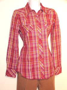 Ariat Snaps Western Cowgirl Plaid Longsleeve Button Down Shirt Fuchsia
