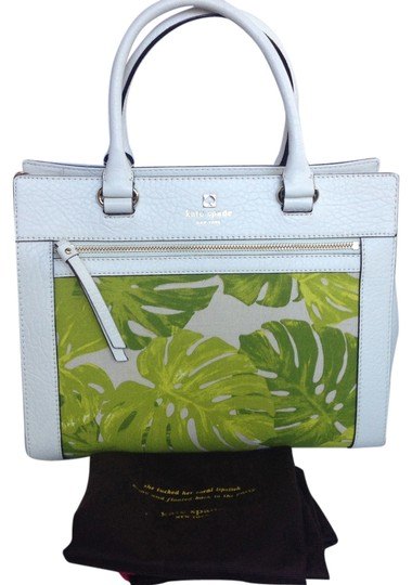 Preload https://item4.tradesy.com/images/kate-spade-perri-lane-romy-white-and-green-leather-and-canvas-satchel-6023818-0-1.jpg?width=440&height=440