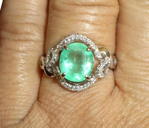 2.08ct NATURAL COLOMBIAN EMERALD&DIAMOND 14k WHITE GOLD ENGAGEMENT RING
