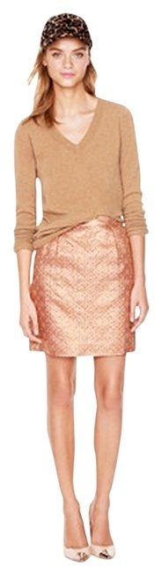 J.Crew Holiday Collection Classic Silk Metallic Sparkle Coral Pink Mini Quartz Skirt Pink Coral