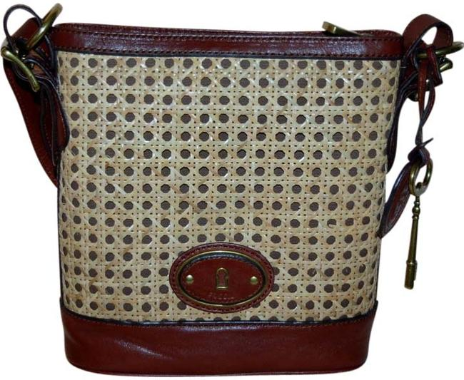 Item - Crossbody Bag Vri Maddox Woven Russet Brown Leather Tote