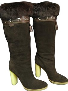 Gucci Suede Fur Brown Boots