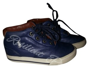 Ralph Lauren Navy Blue Leather Athletic