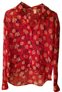 Forever 21 Top Red Floral