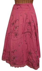 Sweet by Miss Me Embroidered Embellished Studded Beaded Skirt pink
