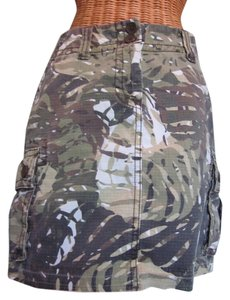 CAbi Mini Camouflage Pockets Mini Skirt khaki