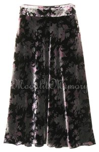 Boston Proper New Without Tags Velvet Long Pink Black Maxi Skirt Black, Pink