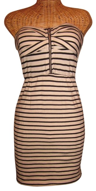 Foreign Exchange short dress black & Cream Strapless Fitted Short Striped on Tradesy