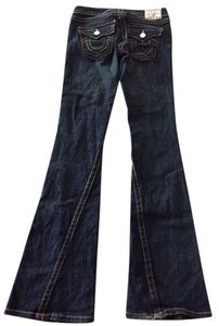 True Religion Casual Denim Full Flare Leg Jeans-Dark Rinse