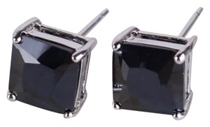 Brand New Black Topaz Princess Cut Stud Earrings