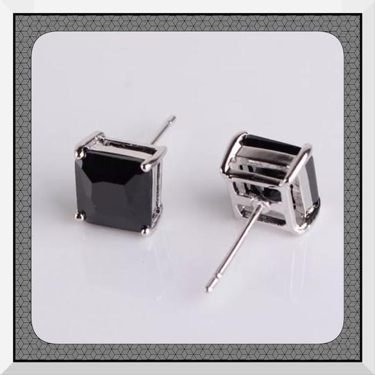 Other Brand New Black Topaz Princess Cut Stud Earrings