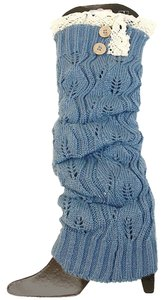Blue Sweater Knitted Lace and Button Top Leg Warmer Boot Socks Boot Topper