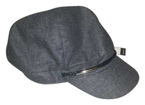 Nine West FLASH SALE NWT Grey Wool Cap Military Hat with Black and Silver Band