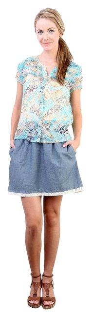 Tulle Floral Party T-shirt Top Blue