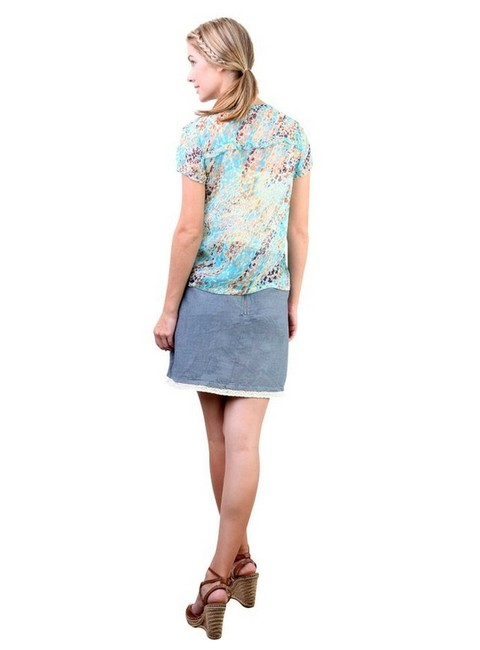 Tulle Floral Party T-shirt Ruffle Top Blue