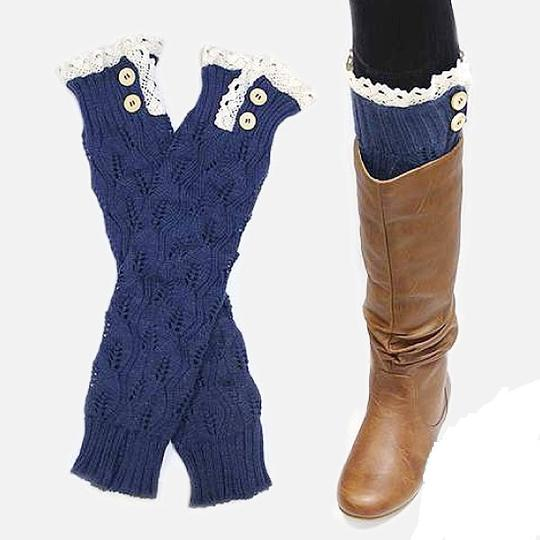 Other Blue Sweater Knitted Lace Top Button Warmer Boot Socks Boot Topper