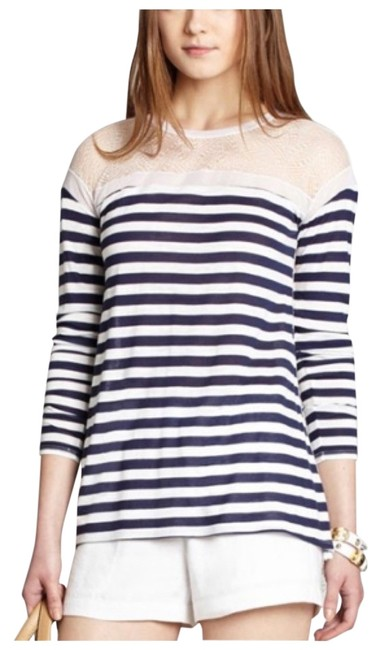 BCBGMAXAZRIA T Shirt Navy and white