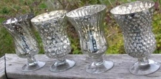 Silver Mercury Glass Pedestal Vases Candle Holders Reception Decoration Tradesy