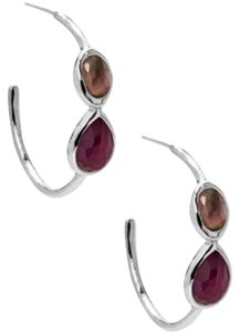 Ippolita Ippolita Wonderland Gelato 2 Stone Silver Hoop Earrings New
